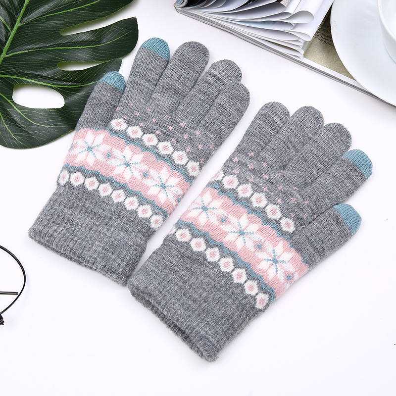Women Winter Gloves Knitted Gloves Female Thicken Warm Touch Screen Gloves Ladies Warm Wool Cashmere Outdoor Ridding Mitten