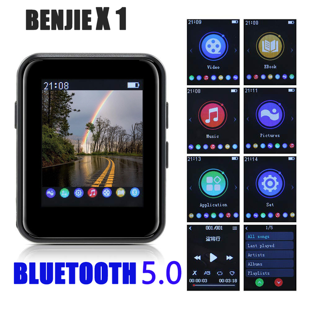 מיני ספורט נייד Bluetooth 5.0 MP3 נגן מתכת חזרה קליפ 1.8 אינץ HD מסך built רמקול באיכות גבוהה מוסיקה באיכות