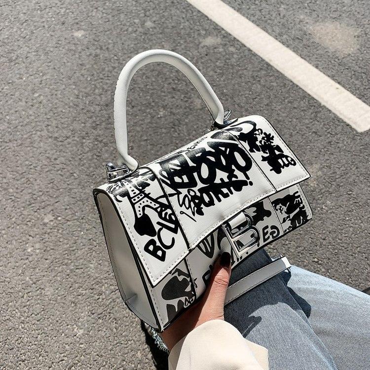 2021 дизайнерская Роскошная Высококачественная сумка на цепочке, модная кожаная сумка-мессенджер с граффити и принтом, сумка на плечо, женска...