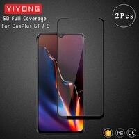 YIYONG 9D funda completa templada de vidrio para OnePlus 6 T 5 6 T 3 T 5T Pantalla de pegamento completo Protector para uno más 6 5T 6 T 7 T 8 5 3 T 3 T de vidrio