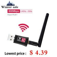 600 mb/s bezprzewodowy Adapter USB 2.4GHz wifi 5GHz z anteną dwuzakresowy PC minikomputer karta sieciowa odbiornik 802.11b/n/g/ac