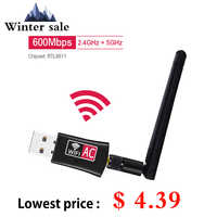 600Mbps Wireless Usb Adapter Wifi 2.4 Ghz 5 Ghz Wifi con Antenna Dual Band Pc Mini Scheda di Rete Del Computer ricevitore 802.11b/N/G/Ac