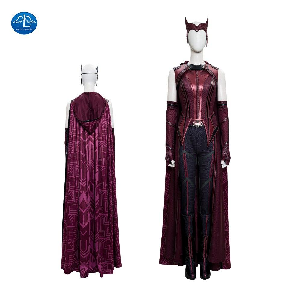 Хэллоуин кожаная одежда Ванда видение косплэй Алая ведьма Ванда косплей костюм для женщин нарядное платье для девочек красный плащ индивид...