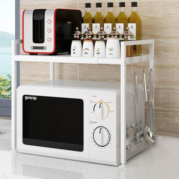 White/Black Organizer Kitchen Microwave Oven Shelf Metal Multi Function Stand Two Layers Dish Space Saving Rack Ru dropshipping