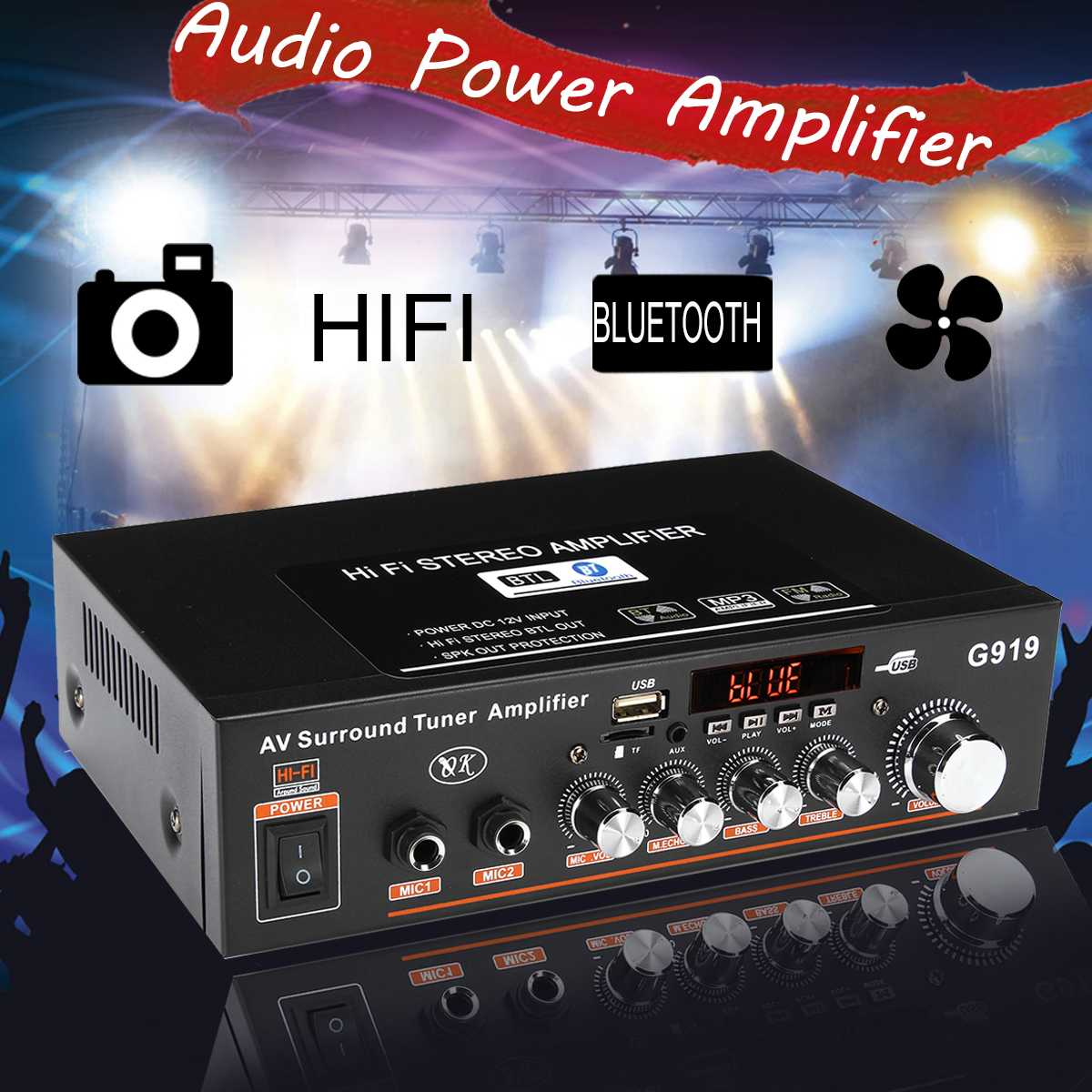 Mini Auto HIFI Audio Stereo Verstärker 2CH bluetooth Subwoofer FM Amplifier
