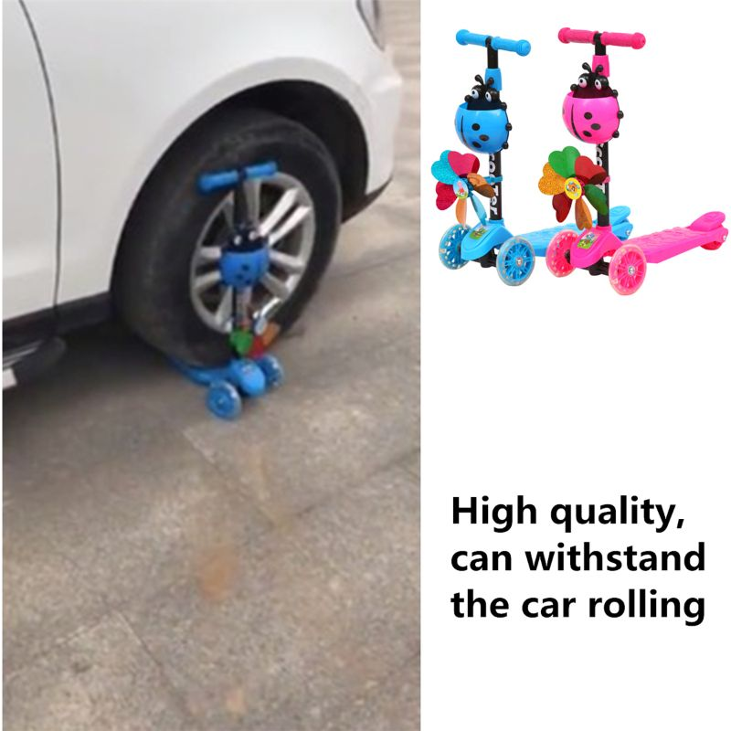 Windmill Ladybug Scooter Foldable And Adjustable Height Lean To Steer 3 Wheel Scooters For Toddler Kids Boys Girls Age 3-8 Q6PD