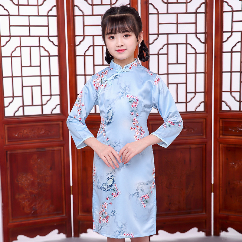 Girls Chinese Dress New Year Party Qipao Cheongsam Long Sleeve Spring Traditional Dresses
