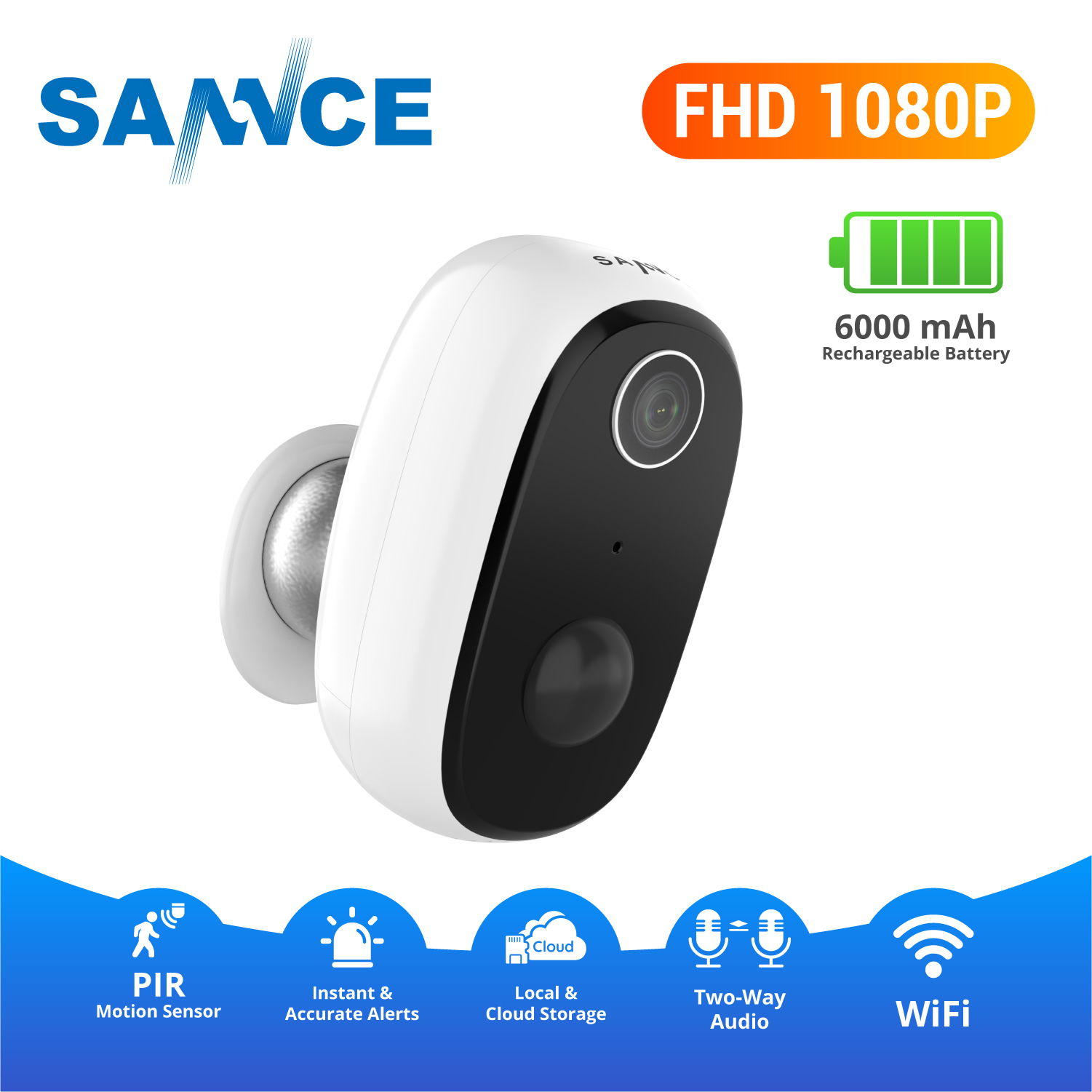 SANNCE Wireless Battery Powered Camera 1080p Rechargeable Home Surveillance IP65 Waterproof Indoor/Outdoor WiFi Security Camera