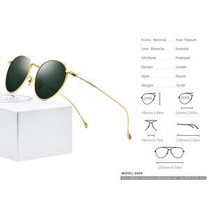 Image 3 - FONEX التيتانيوم النقي النظارات الشمسية الرجال خمر صغيرة مستديرة نظارات شمسية مستقطبة للنساء 2019 الرجعية عالية الجودة UV400 ظلال 8508