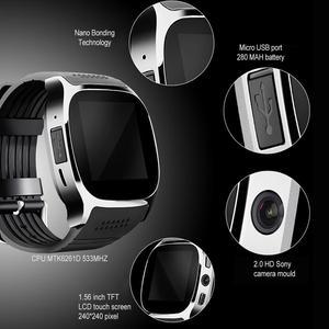 Image 3 - T8 kamera ile Bluetooth akıllı izle Facebook Whatsapp destek SIM TF kart çağrı spor Smartwatch Android telefon için IOS Samsung