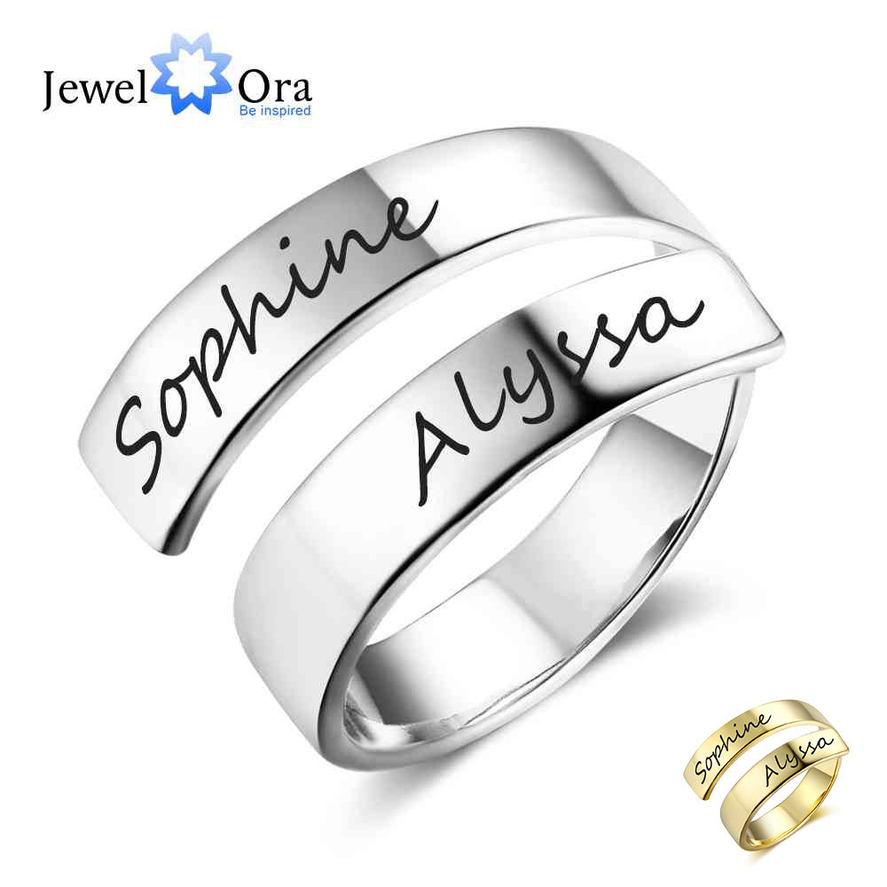 Presente personalizado Personalizado Gravado Nome Aço Inoxidável Anéis Ajustáveis para Mulheres Anniversary Jóias (JewelOra RI102973)