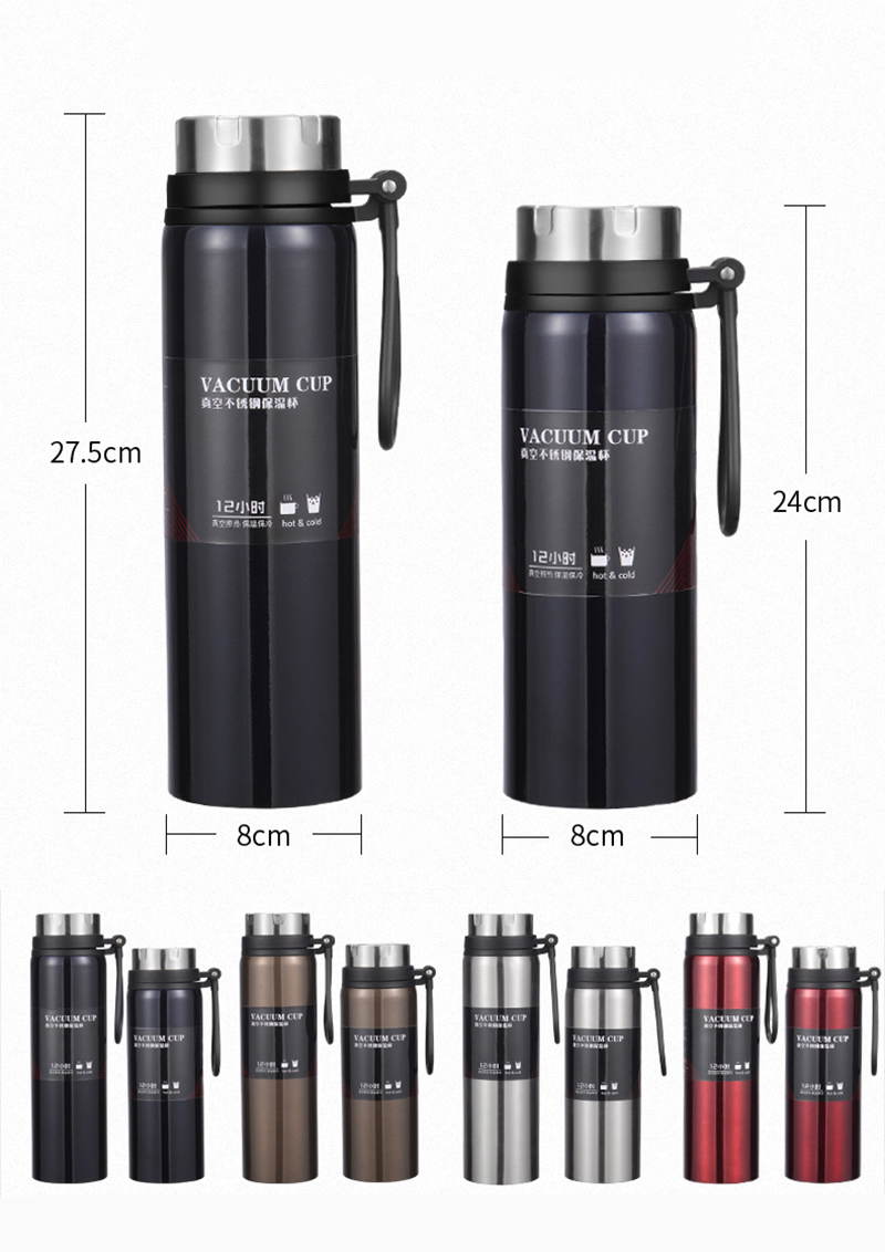 Hc848e1c01ca24c6a8ddfdf8bb027ddd4P Sports bottle 800ML / 1000ML large capacity double stainless steel thermos outdoor travel portable leak-proof car vacuum flask