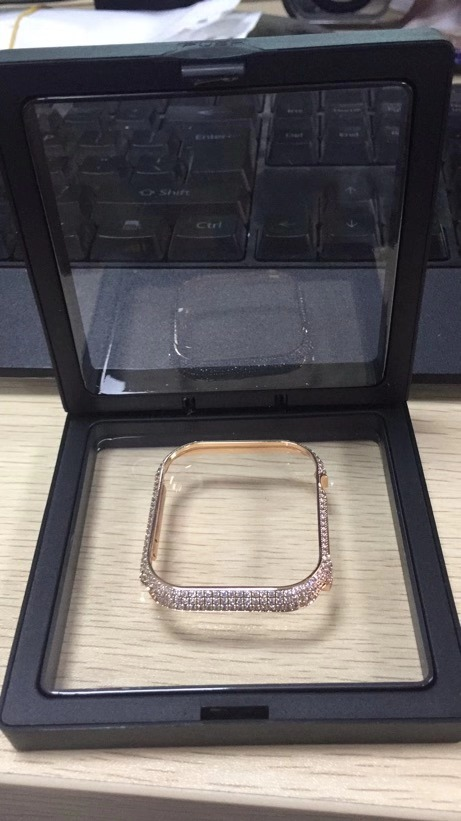 Купить с кэшбэком Diamond Protective Cover for Apple watch Case 5 40/44mm Luxury  Stainless Steel Crystal Protector bumper 38/42mm for iwatch 4321
