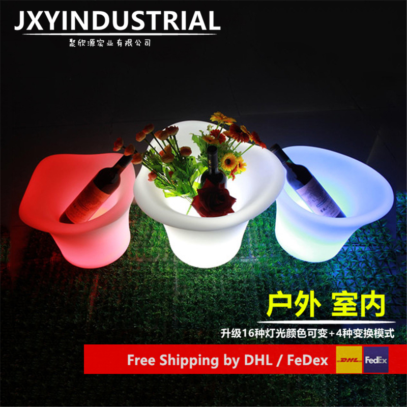Cool Party LED Ice Bucket Double Layer Event Night Club KTV LED Beer RGB Color-Changing Flashing Light Ice Wine Buckets 1pc