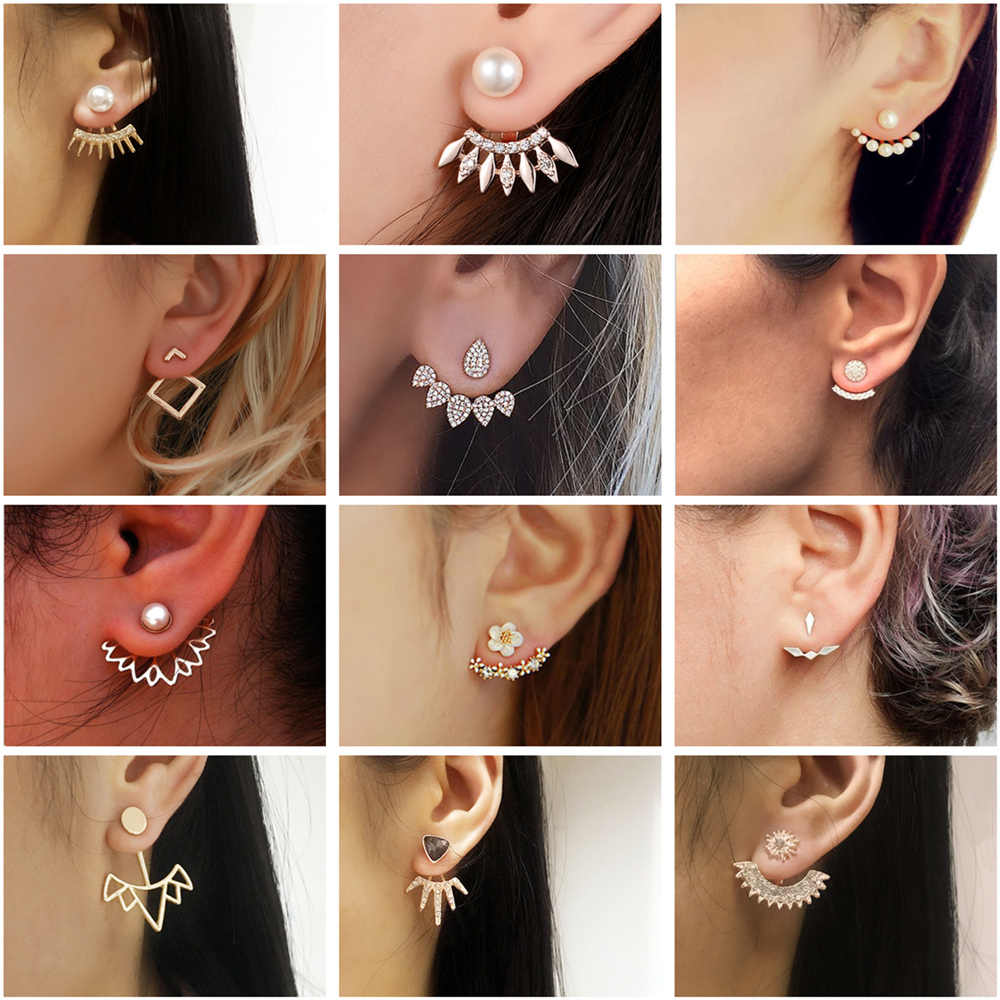 Wholesale Crystal Stud Earrings For Women Fashion Jewelry Geometric Pearl Earrings Boucle D'oreille Femme 2019 Brincos Oorbellen