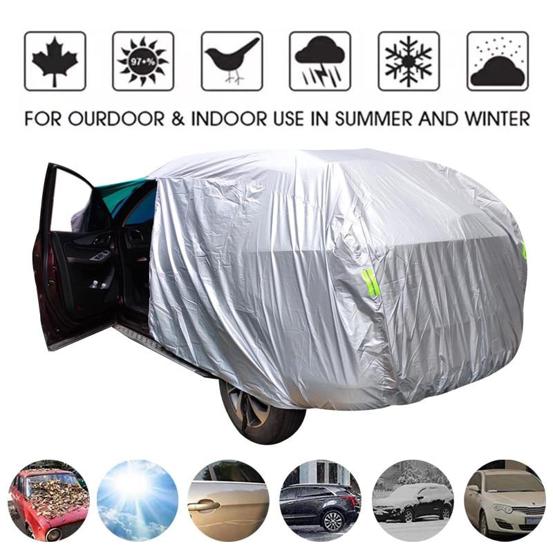Universal SUV/Sedan Full Car Covers Outdoor Waterproof Sun Rain Snow Protection UV Car Umbrella Silver S-XXL Auto Case Cover