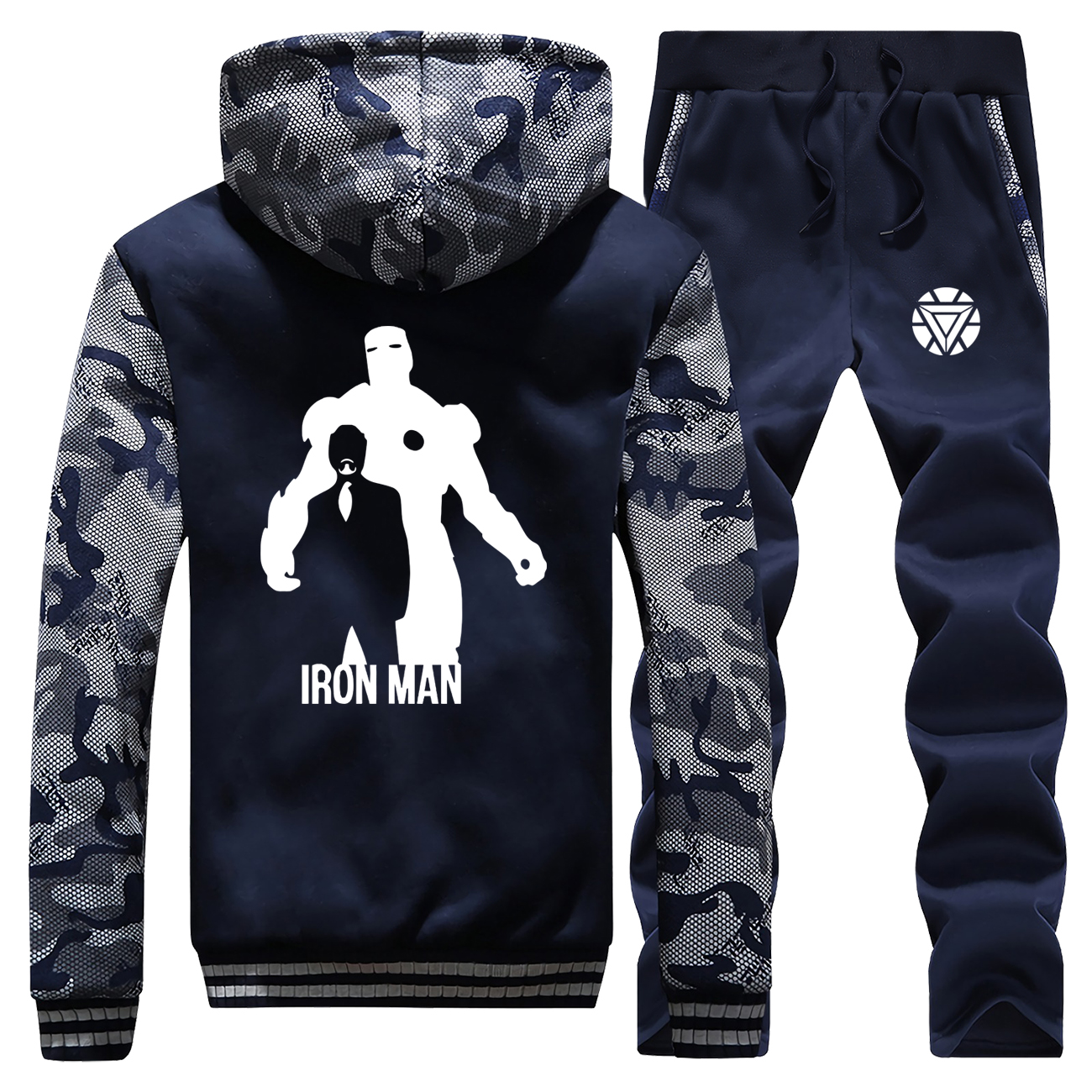 The Avengers Iron Man Tracksuit Winter Men Set Thick Fleece Jackets + Pants 2 Pieces Sets Male Warm Hoodies Suit Mens Sportswear