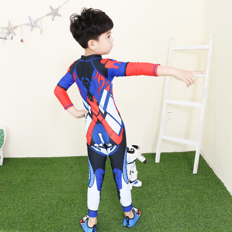 KID'S Swimwear BOY'S Big Boy Long Sleeve Trousers Siamese Swimsuit Printed Hot Springs Diving Suit Jellyfish Clothing
