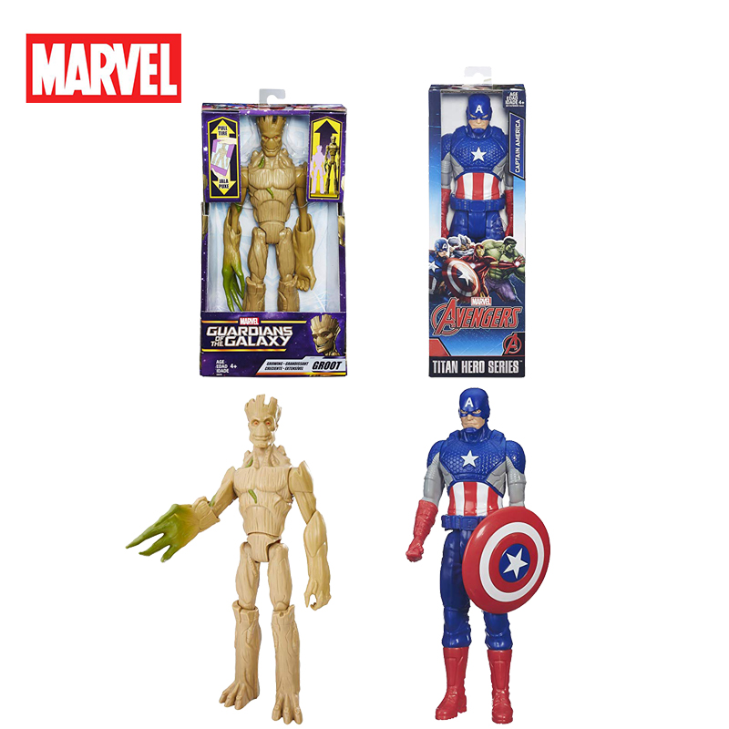 12''/30cm Marvel Titan Hero Groot Galaxy Guardians Captain America Young Tree Man Action Figures Model Toys Kids Christmas Gifts