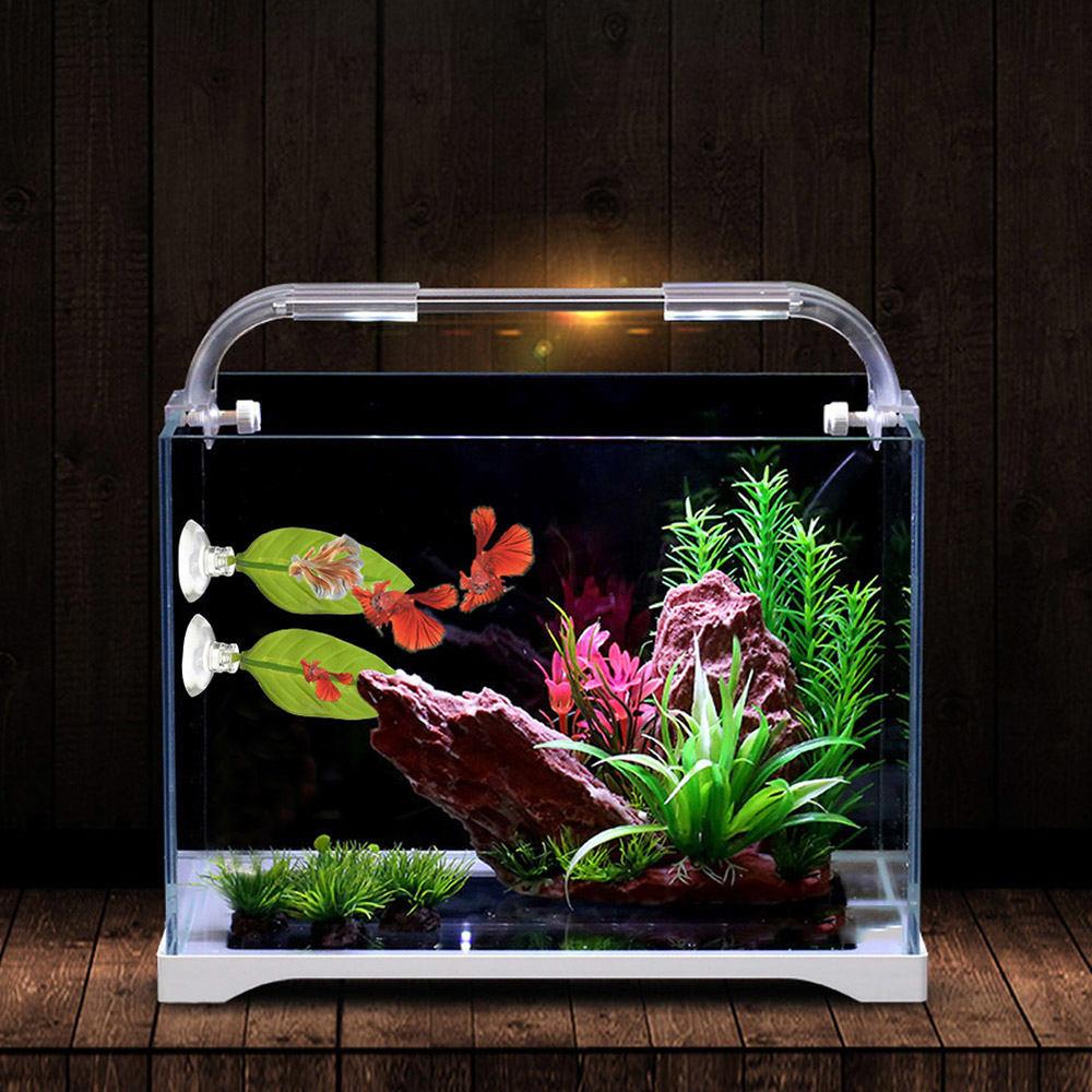 2 Pcs Aquarium Ikan Tangki Dekorasi Lanskap Tropis Ikan Cupang Pemijahan Istirahat Buatan Daun Perlengkapan Akuarium Tanks Aliexpress