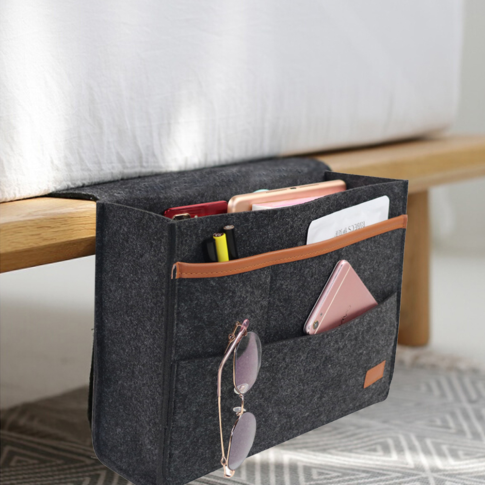 Bedside Storage Bag Felt Bed <font><b>Sofa</b></font> Side Pouch <font><b>Remote</b></font> Control Hanging Caddy Bedside Couch Storage Organizer Bed Holder <font><b>Pockets</b></font> image