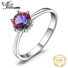 Brand New Hot Sale Round Cute Genuine Mystic Fire Rainbow Topaz Ring Solid 925 Sterling Silver Jewelry For Women Gift Friend