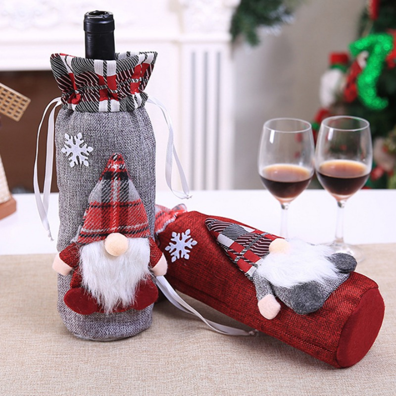 Christmas Wine Bottle Decor Set Santa Claus Snowman Bottle Cover Clothes Kitchen Decoration For New Year Xmas Dinner
