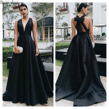 Baijinbai Black Evening Dresses Simple Satin Deep V Neck Prom Dresses Long A Line Party Formal Gowns with Train Bowknot Prom New