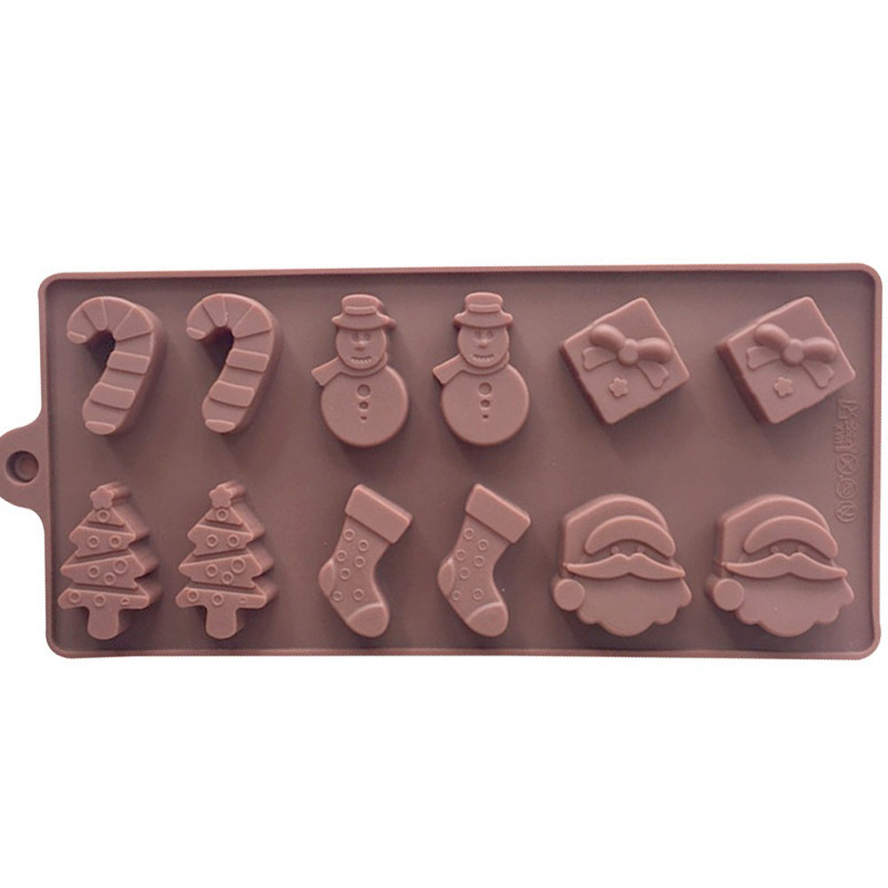 1PC New Christmas Series Supplies Socks Tree Snowman Gift Silicone Baking Tray Candy Chocolate Mold Navidad Xmas