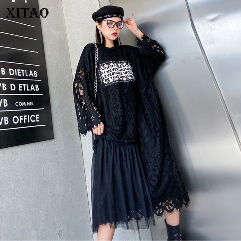 XITAO Plus Size Patchwork Mesh Lace Dress Women Clothes 2020 Spring New Fashion Loose Match All Slim Elegant Dress  DMY3142