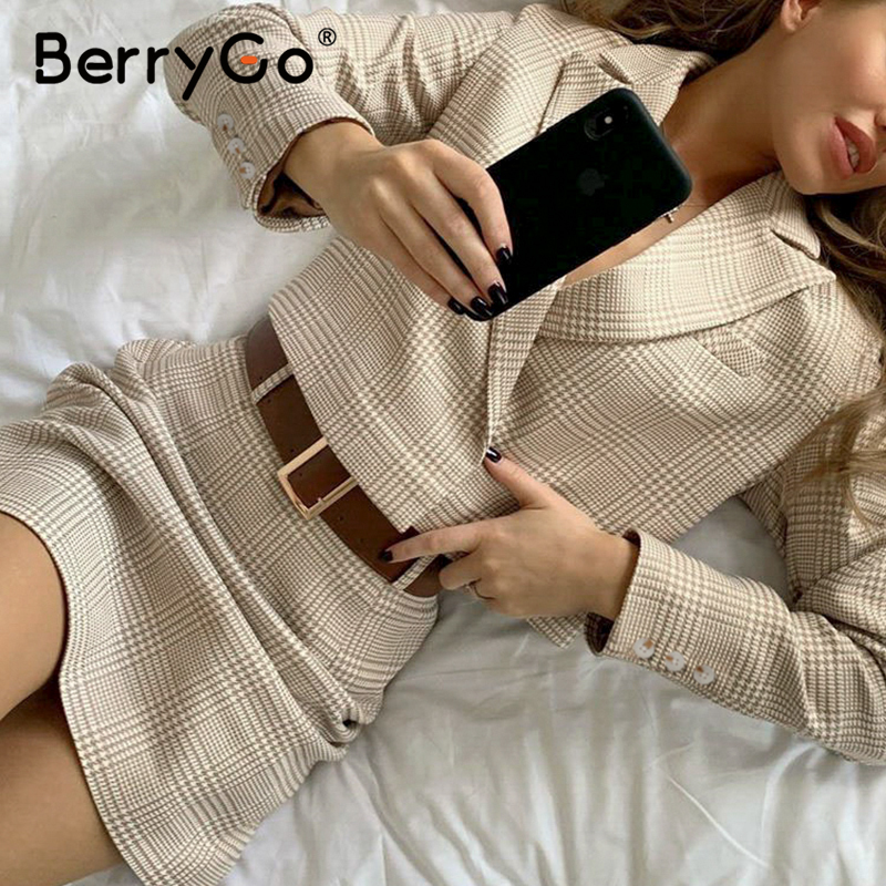 BerryGo Elegant plaid women dress suit Two-piece long sleeve office ladies dress set A-line casual notched autumnn winter dress