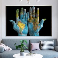 World Map In Hands Canvas Painting Poster Prints Nordic Poster Wall Art Pictures Cuadros Home Decoration for Living Room Decor