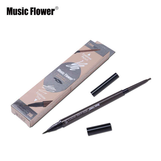 Music Flower Brand Cosmetic Eyes Makeup Matte Natural Double Head Eyebrow Pencil +Eyebrows Tint Liquid Waterpoof Long-lasting 4