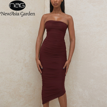 NewAsia Midi Dress Women Ruched Strapless Sleeveless Zipper Solid Color Bodycon Dresses Ladies New Year Party Club Vestidos 2020 newasia mesh ruched elegant dress women long sleeve off shoulder party dress slash neck bodycon midi dresses club night vestidos