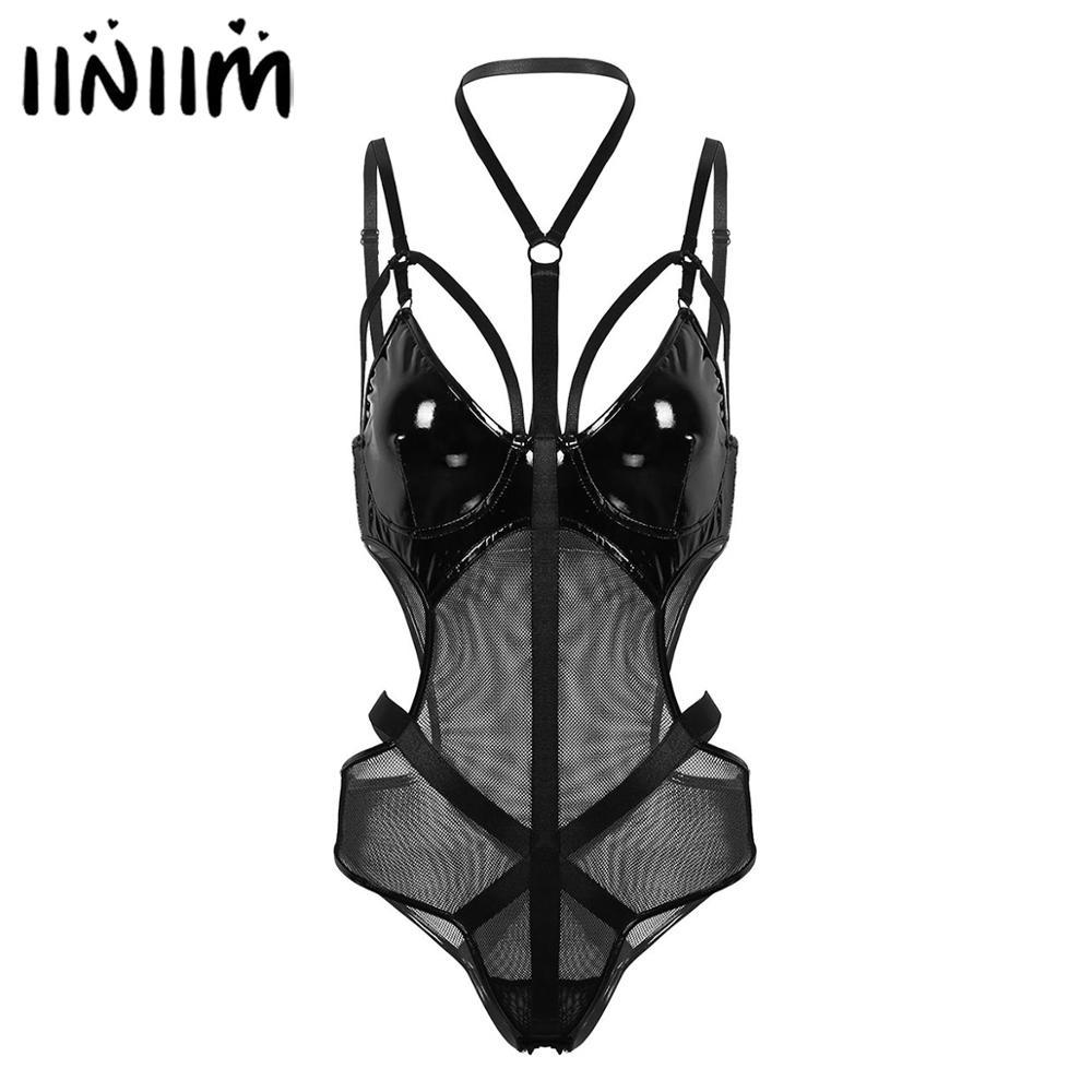 Женское кожаное Сетчатое боди, облегающее лоскутное нижнее белье, облегающий купальник с вырезами на талии, Клубные костюмы