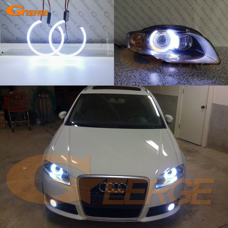 Excellent Ultra Bright Illumination COB Led Angel Eyes Kit Halo Ring For Audi A4 S4 RS4 B7 2004 2005 2006 2007 2008 2009