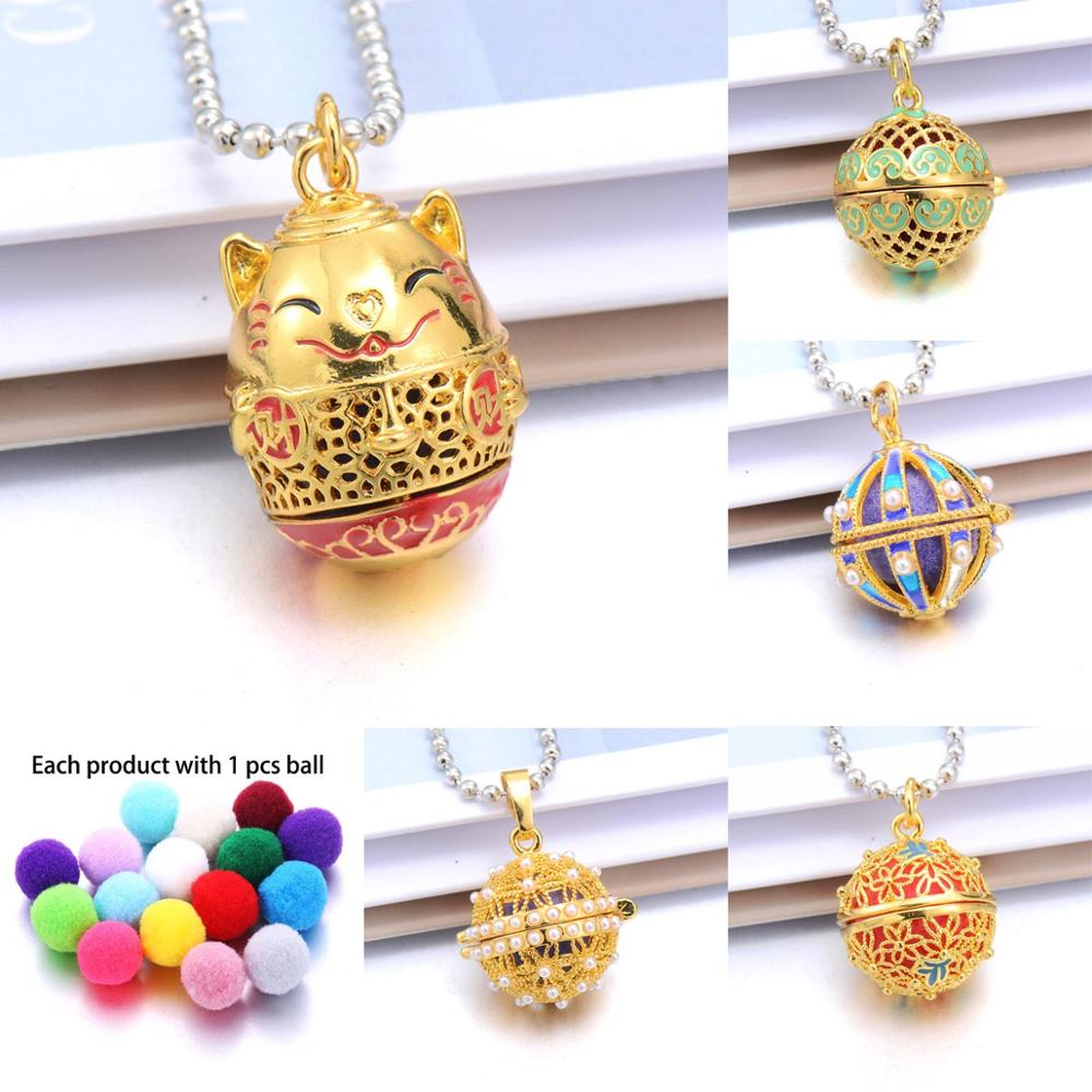 Golden Lucky Cat Aromatherapy Necklaces Chinese style open locket Aroma Diffuser Necklace Essential Oils perfume necklace