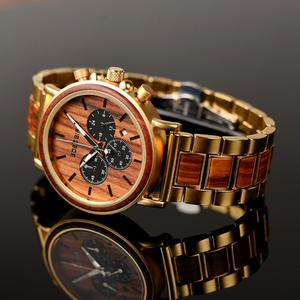 Image 5 - BOBO BIRD Men Watches Stopwatch relojes hombre Wooden Wristwatches Male Show Date erkek kol saati in Gifts Box USA warehouse