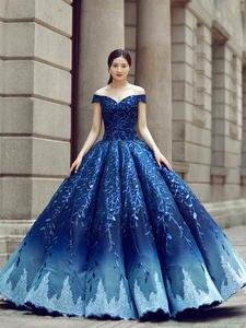 Wedding-Dress Pregnant-Bride Luxury Maternity Evening-Gown Abaya Royal-Blue Bling-Bling-Robe-De-Soiree