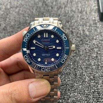 цена 42mm Men's Automatic Mechanical Watch Black 007 Ceramic Bezel Sapphire Glass Luminous Waterproof Men's Watch онлайн в 2017 году