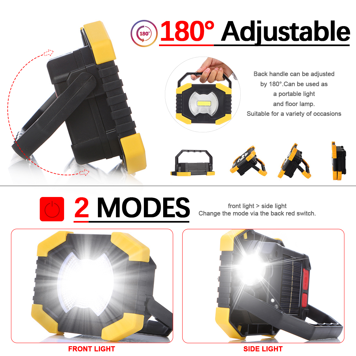 Portable USB Rechargeable Spotlight Work Light Torch USB Flashlight Solar Energy Light Lamp Built-in 2400mAh Battery For Camping
