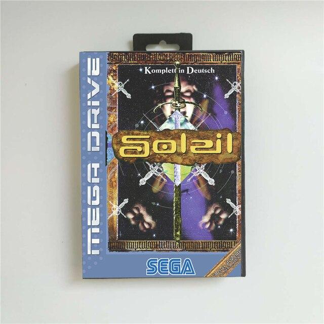 Soleil (Französisch) EUR Abdeckung Mit Einzelhandel Box 16 Bit MD Spiel Karte für Sega Megadrive Genesis Video Spiel Konsole