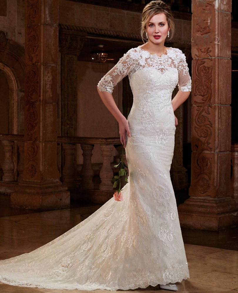 Stunning Lace Mermaid Style Half Sleeve Brides With Long Tail Illusion Neck 2018 bridal gown mother of the bride dresses