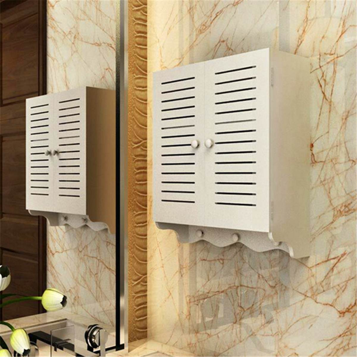 Bathroom Cabinet 40x16x50cm Home Wall Mounted Wood Plastic Plate Toilet Shower Supplies Storage Two Tier Inner Shelves White