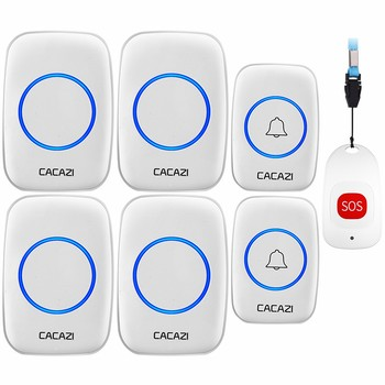 CACAZI Smart Home Wireless Pager Doorbell Old man Emergency Alarm Call Bell US EU UK Plug 80m Remote 2 button 1 pager 4 Receiver