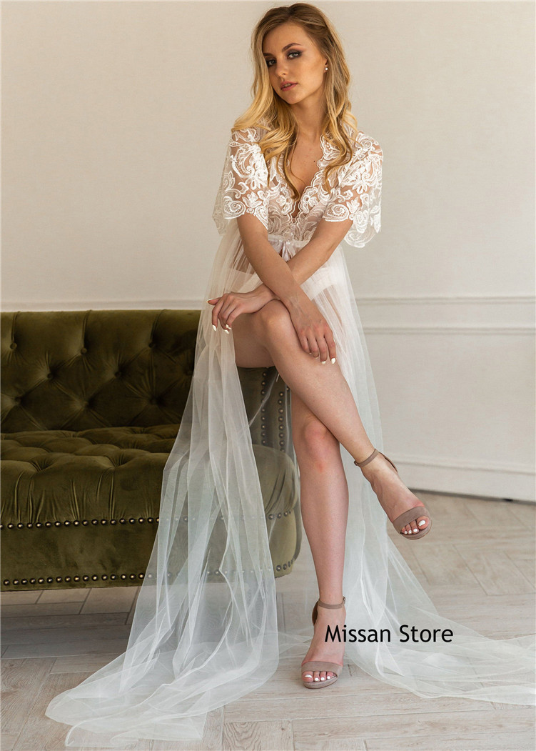 Ivory Lace Tulle Sexy Wedding Robe Bridal Sleepwear Wedding Party Sexy Robe