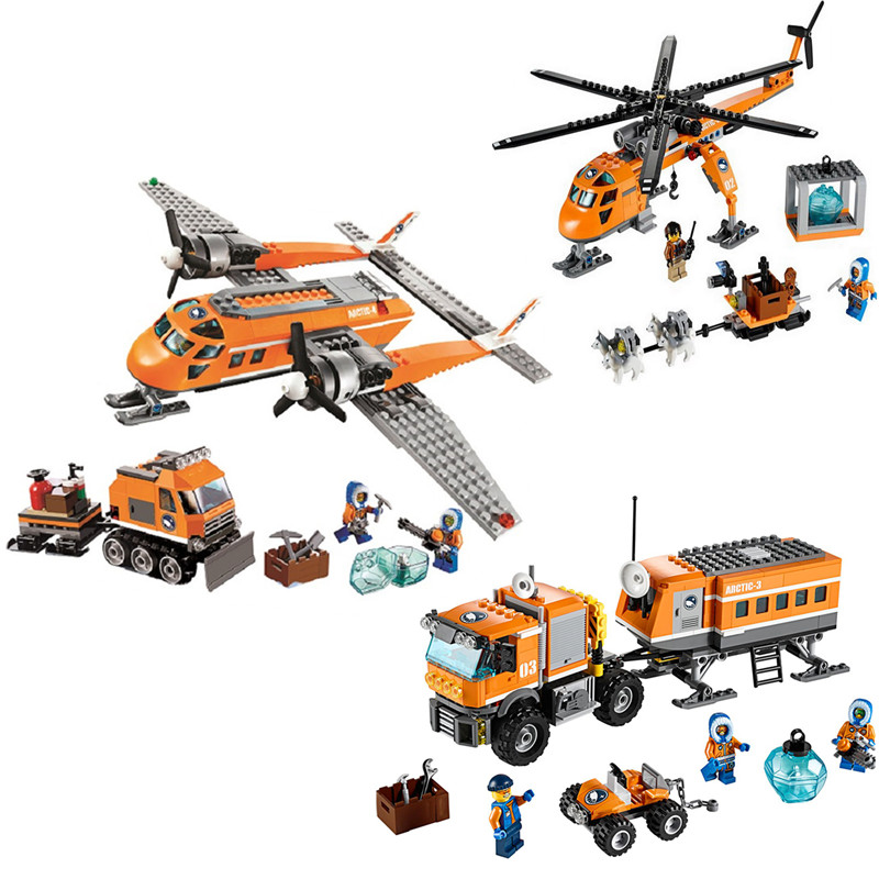 Legoing  City Arctic Helicopter Supply Plane Legoings Model Building Blocks City Educational Toys For Children Kids Gift