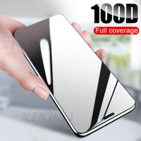 Vidro de proteção de borda curvada 100D no para iphone 7 8 6 6 s plus protetor de tela temperado para iphone 11 pro x xr xs max vidro