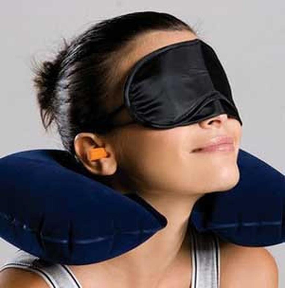 1pc Portable U Shape Airplane Pillow Inflatable Air Cushion Neck Rest 3D Eye Mask Earplug Travel Set Three-piece Toiletry Kits