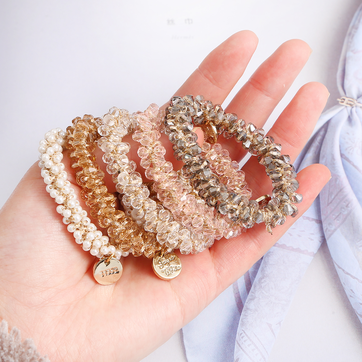 5 см Женская мода веревка для волос держатель для хвоста Champange искусственный кристалл жемчужные бусины эластичные резинки для волос аксессу...